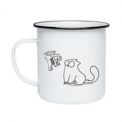 Кружка емальована Два кота