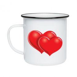 Кружка эмалированная Два сердца