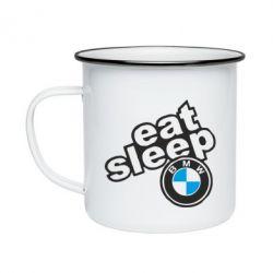 Кружка емальована Eat, sleep, BMW