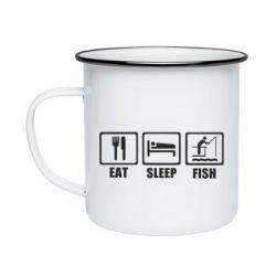 Кружка емальована Eat, sleep, fish