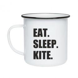 Кружка емальована Eat, sleep, kite