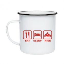 Кружка емальована Eat, sleep, ride