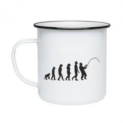Кружка емальована Еволюція рибалки