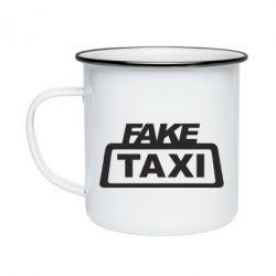 Кружка емальована Fake Taxi