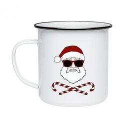 Кружка емальована Fashionable Santa