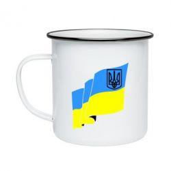 Кружка емальована Прапор з Гербом України