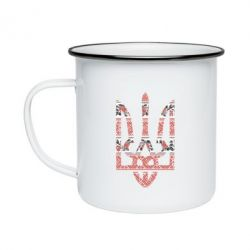 Кружка эмалированная Герб України з національніми візерунками