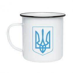Кружка емальована Герб України з рамкою