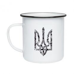 Кружка эмалированная Герб з візерунками