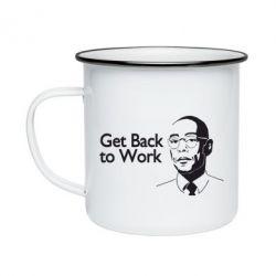 Кружка емальована Get Back To Work