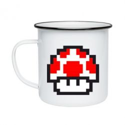 Кружка эмалированная Гриб Марио в пикселях