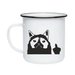 Кружка емальована Grumpy cat F**k Off