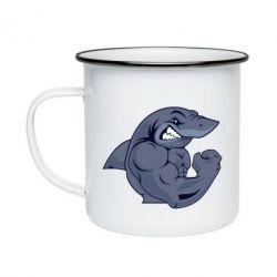 Кружка емальована Gym Shark