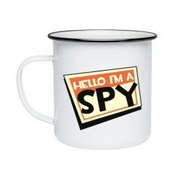 Кружка емальована Hello i'm a spy