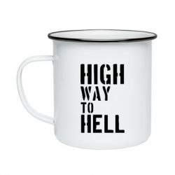 Кружка эмалированная High way to hell