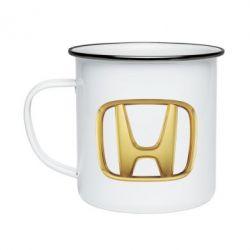 Кружка емальована Honda Gold Logo