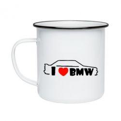 Кружка эмалированная I love BMW
