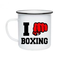 Кружка эмалированная I love boxing