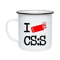 Кружка эмалированная I love CS Source