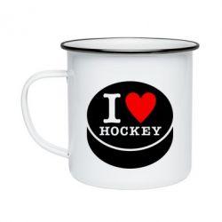 Кружка емальована I love hockey