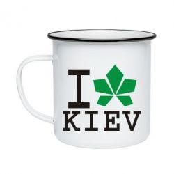 Кружка эмалированная I love Kiev - с листиком - FatLine