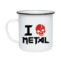 Кружка эмалированная I love metal - FatLine