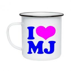 Кружка емальована I love MJ