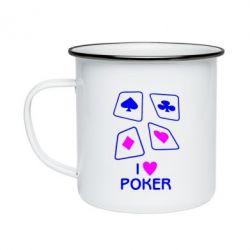Кружка емальована I love poker