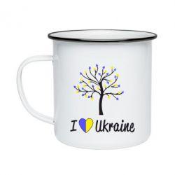 Кружка эмалированная I love Ukraine дерево
