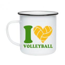 Кружка емальована I love volleyball