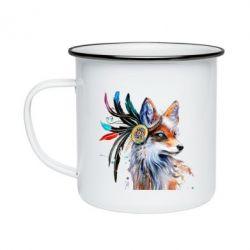 Кружка емальована Indian Fox