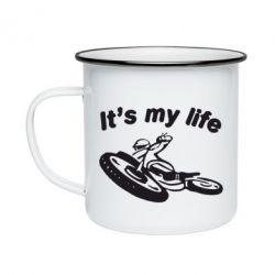 Кружка емальована it's my moto life