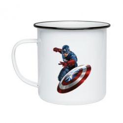 Кружка эмалированная Капитан Америка