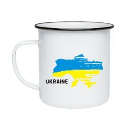 Кружка эмалированная Карта України з написом Ukraine - FatLine