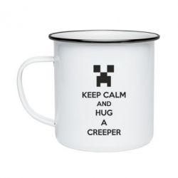 Кружка эмалированная KEEP CALM and HUG A CREEPER