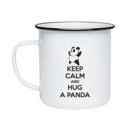 Кружка эмалированная KEEP CALM and HUG A PANDA