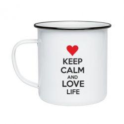Кружка эмалированная KEEP CALM and LOVE LIFE - FatLine