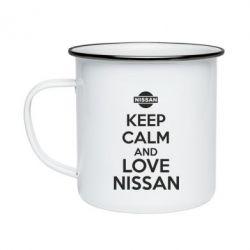 Кружка эмалированная Keep calm and love Nissan - FatLine