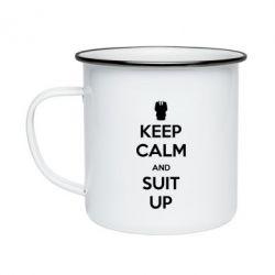 Кружка эмалированная Keep Calm and suit up!