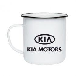 Кружка емальована Kia Logo