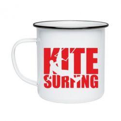 Кружка емальована Kitesurfing