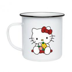 Кружка эмалированная Kitty с букетиком