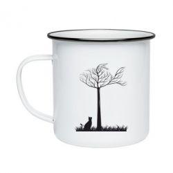 Кружка эмалированная Кот прыгает на дерево