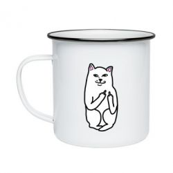 Кружка эмалированная Кот с факом