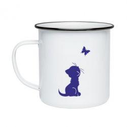 Кружка эмалированная котик и бабочка - FatLine