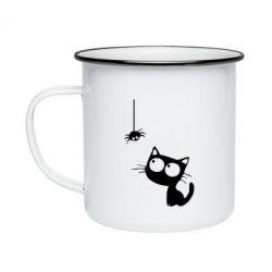 Кружка емальована Котик і павук