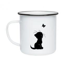 Кружка емальована Котик з метеликом