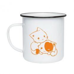 Кружка эмалированная котята - FatLine