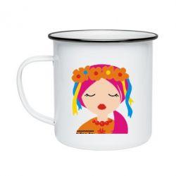 Кружка эмалированная Красива україночка - FatLine