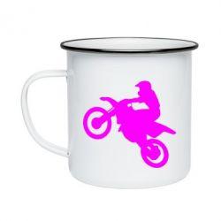 Кружка эмалированная Кроссовый мотоцикл
